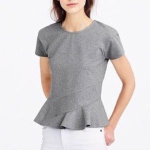 J. Crew Gray Structured Flutter Top, Size Large